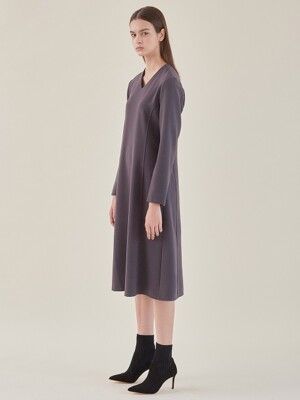 v-neck dress-grey