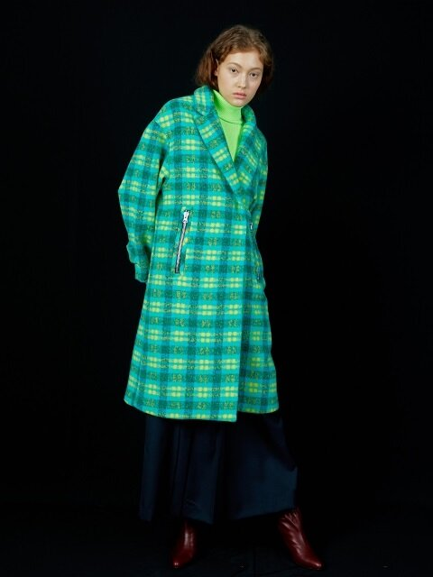 CHECKED WOOL-NEON CLUTCH COAT_NEON LIME