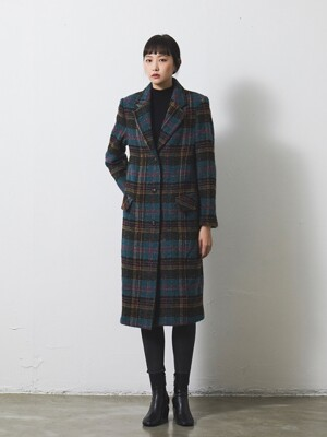 SINGLE BREASTED LONG COAT / CHECK