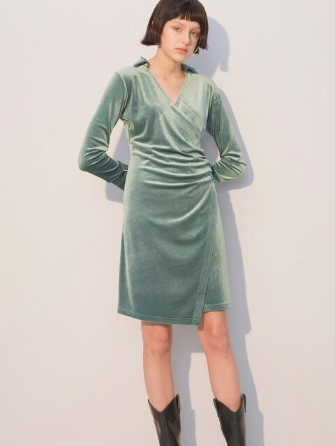 Velvet Shirring Dress_Green