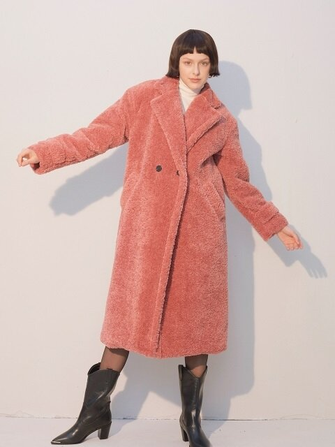 Teddy Bear Long Coat_Pink