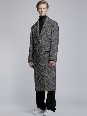 Half Double Peaked Lapel Coat_Black