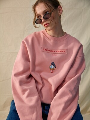 typeA [DISNEYxORDINARY PEOPLE] :-P donald duck pink sweat shirt