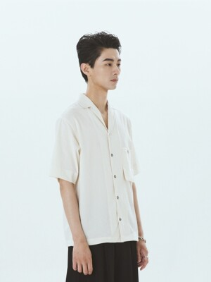 Simple Open-Collar Pocket Shirts White