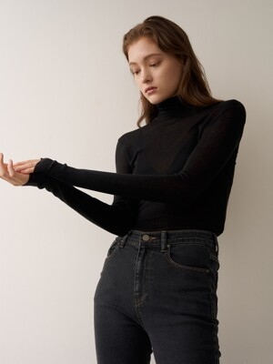 ERICA Sheer Wool Turtle Neck_Black