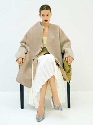 Detachable Muffler Handmade Jacket in Beige