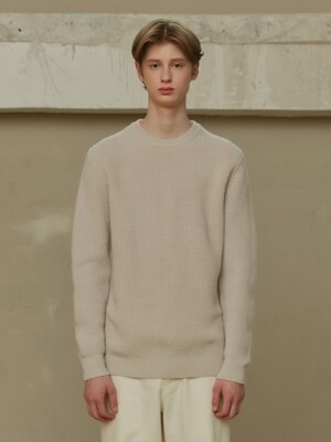 CREAM BOLD CREWNECK KNIT (TC1KNVF0803)