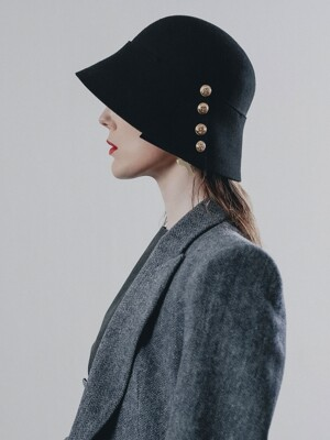 Button felt Hat_black