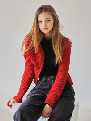 MTOF3 CROPPED CARDIGAN(RED)