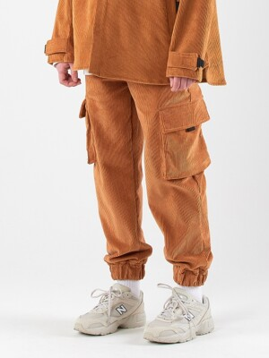 Corduroy Span Jogger Pants (BROWN))
