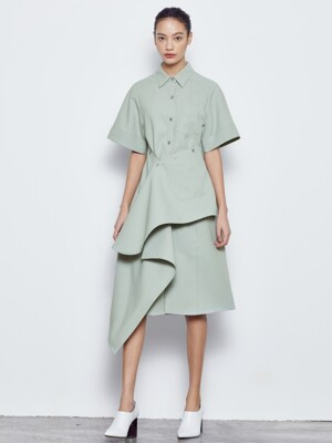 PINTUCK WRAP SHIRTS DRESS_MINT