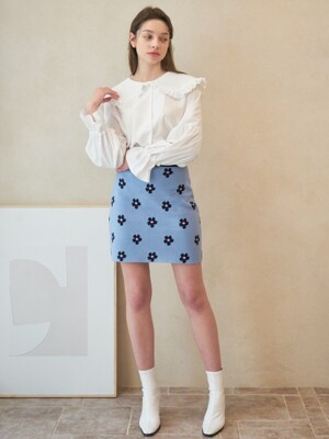 T01-ARGYLE SKIRT SKYBLUE
