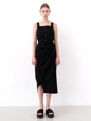 SLEEVELESS WRAP DRESS (BLACK)