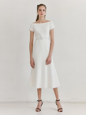 BRIANA Off shoulder short-sleeve formal dress (Off White)