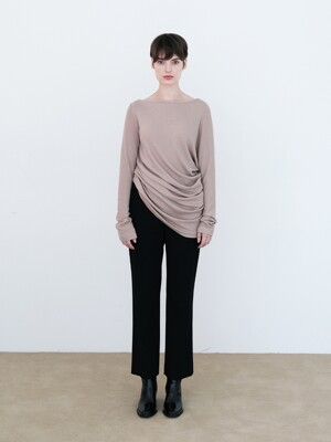 ASYMMETRIC KNIT TOP (BEIGE)