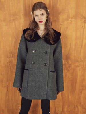 VELVET BIG COLLAR COAT - GREY/NAVY