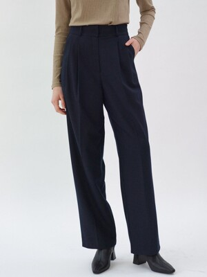 Wool Pin tuck Pants_Navy