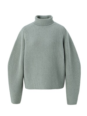 Cashmere blended highneck pullover - Smoke mint