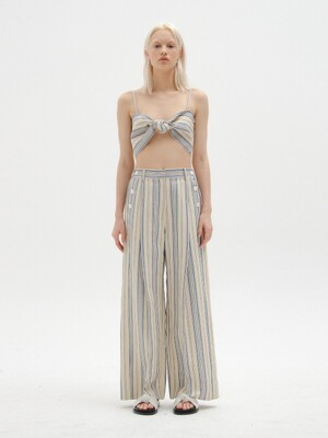 SAVONE Wide Pants - Ivory/Blue Stripe
