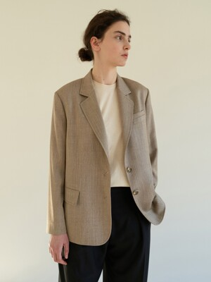 TOS WOOL STITCH BLAZER OATMEAL