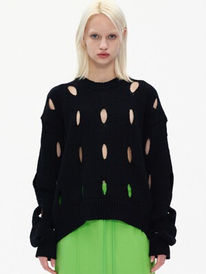 CUT-OUT COTTON SWEATER, BLACK