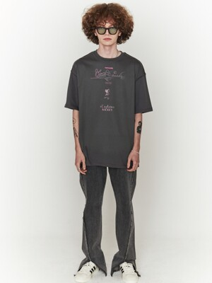 [ ORDINARYPEOPLE & DISNEY ] CAPTIN MICKEY CHARCOAL  T-SHIRTS
