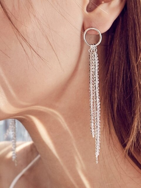 [Silver] CRYSTAL B DROP RING EARRING