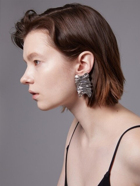 wave texture B earring