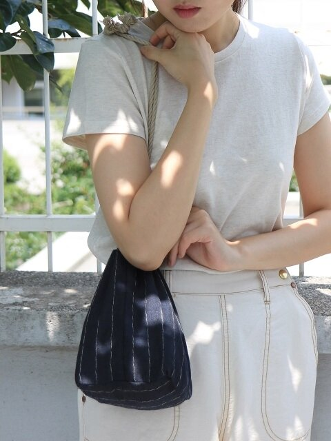 Linen pouch bag _navy