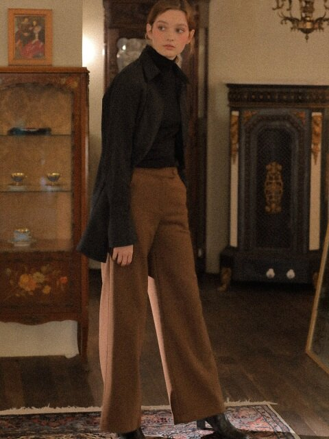 LV BUTTON SLACKS(BROWN)