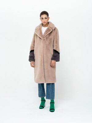 THREE LINE ECO FUR_BEIGE