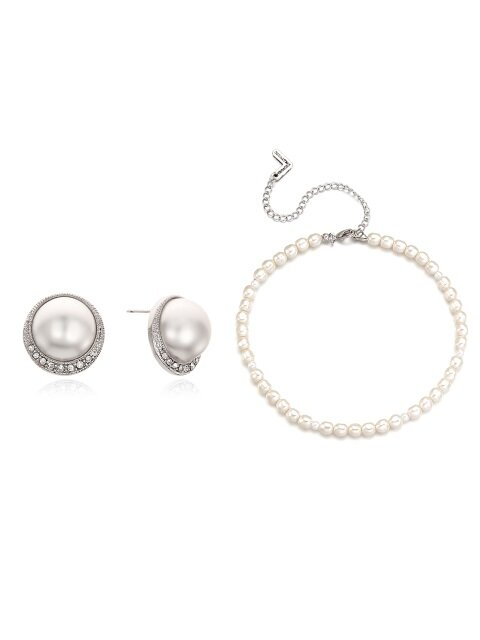 [SET]Round Cubic n Pearl Earring+Pearl Necklace