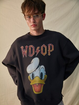 typeA [DISNEYxORDINARY PEOPLE] donald duck charcoal sweat shirt
