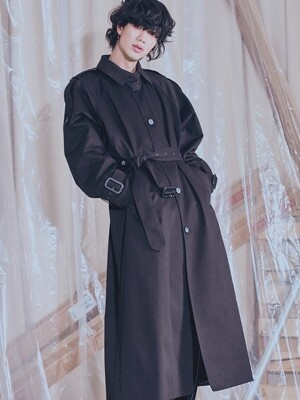 Single button TRENCH LONG COAT_BLACK