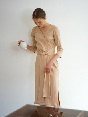 Wrap jersey dress, beige