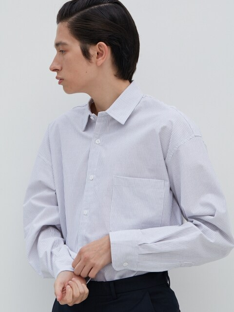 W Relax Stripe Shirts L.Gray