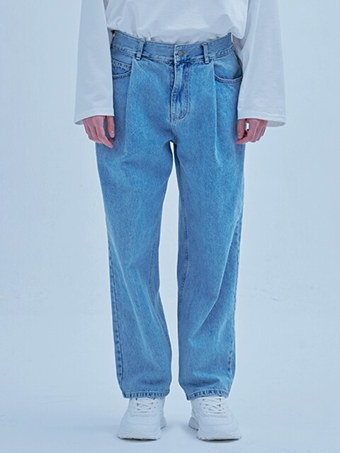 PINTUCKED WIDE DENIM BLUE