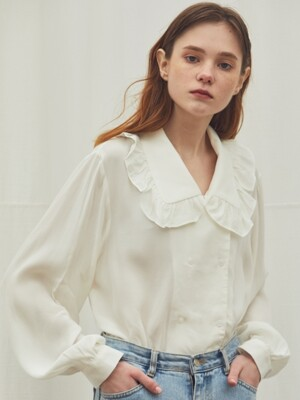 WHITE FRILL DOUBLE BLOUSE