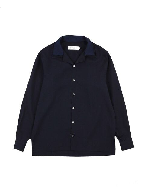 ordinary point collar hawaiian navy shirt