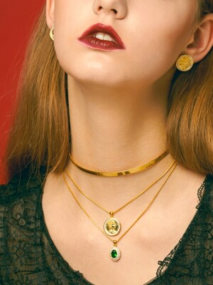 Vintage Coin Choker Necklace Set (gold, silver)