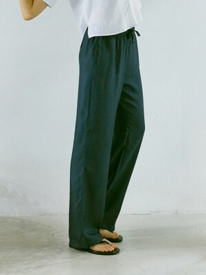 ouie92 Satin banding long pants (deep charcoal)