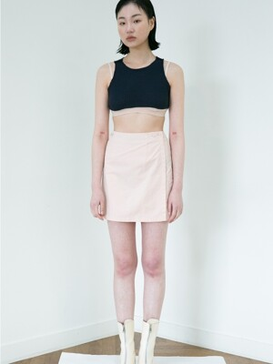 WRAP BUTTON SKIRT LIGHT PINK