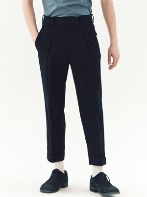 Double Pleated Italian Cotton Baggy Trousers_2color