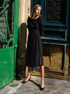 Waist-tuck Volume Dress_Black