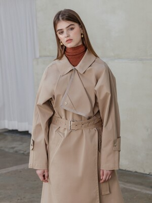 Punching belted trench coat [BEIGE]