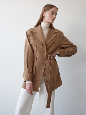 camel belted wool jacket