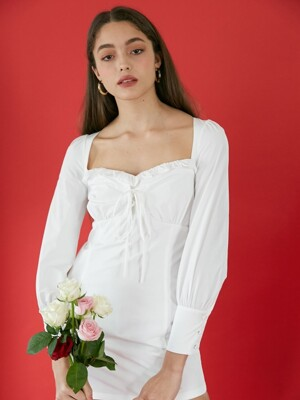 Rosepetal corset dress (White)