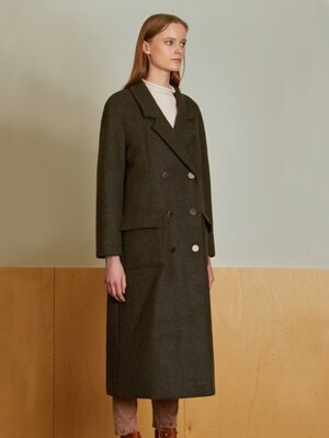 (LRENE) DOUBLE BREASTED REEFER WOOL COAT_KH