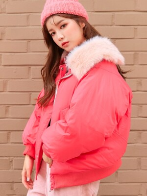 FUR POINT PADDING JUMPER / PINK