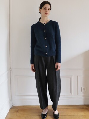 Wool Tuck Pants in Charcoal Grey